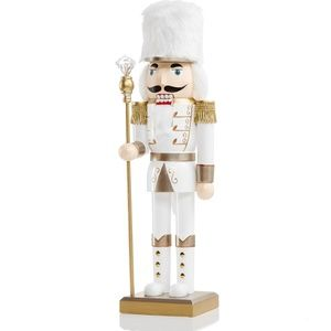 Holiday Lane Shine Bright White And Gold Soldier